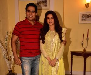 Aman Verma and Bhagyashree during a commercial shoot