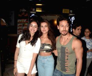 Actors Ananya Pandey, Tiger Shroff and Tara Sutaria seen in Mumbai's Bandra, on May 12, 2019.
