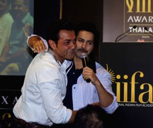 Press conference of the 19thEdition of IIFA - Bobby Deol and Varun Dhawan