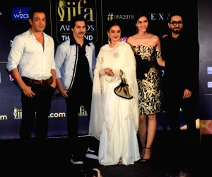 Press conference of the 19thEdition of IIFA - Bobby Deol, Varun Dhawan, Rekha, Kriti Sanon and Ayushmann Khurrana