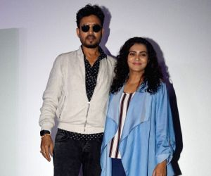 "Actors Irrfan Khan and Parvathy at the special screening of film ""Qarib Qarib Singlle"" in Mumbai on Nov 10, 2017."