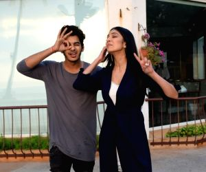 "Ishaan Khatter and Malavika Mohanan during an interview for upcoming film ""Beyond The Clouds"
