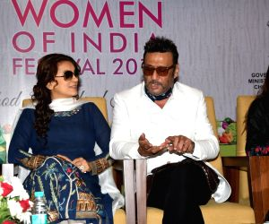 "Actors Juhi Chawla and Jackie Shroff at the ""Women Of India Festival 2018"" in Mumbai on March 16, 2018."