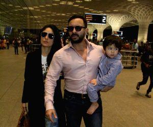 Actors Kareena Kapoor Khan, Saif Ali Khan and their son Taimur Ali Khan seen at Chhatrapati Shivaji International Airport in Mumbai on May 30, 2019.