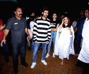 Kartik Aaryan, Bhumi Pednekar and Ananya Panday seen at Bandra