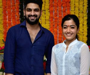Naga Sourya and Rashmika Mandanna at the launch of new film