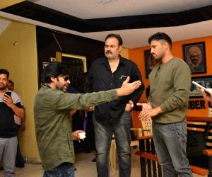 Pawan Kalyan and Allu Arjun at film chamber