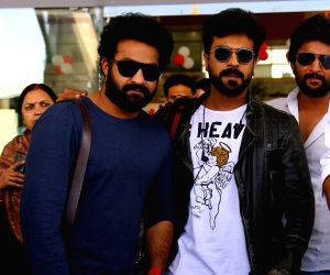 Ram Charan, NT Rama Rao Jr. arrive in city