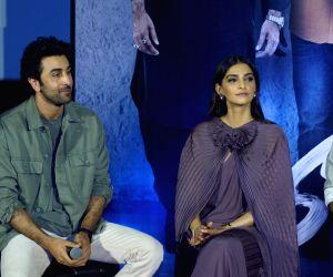 "Actors Ranbir Kapoor and Sonam Kapoor at the trailer launch of their upcoming film ""Sanju"", in Mumbai on May 30, 2018."