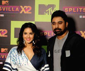 Actors Rannvijay Singh and Sunny Leone during a programme on MTV SplitsVilla in Mumbai, on July 17, 2019.