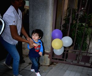Taimur Ali Khan spotted at Soha Ali Khan's house