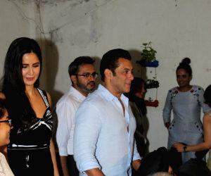 "Actors Salman Khan and Katrina Kaif at the screening of their upcoming film ""Bharat"", in Mumbai on June 12, 2019."