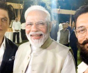 Actors Shah Rukh Khan and Aamir Khan with Prime Minister Narendra Modi.