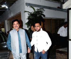 """Actors Shatrughan Sinha and Gulshan Grover arrive at the screening of recently released film """"Mission Mangal"""" in Mumbai on Aug 25, 2019."""