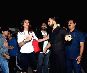 "Actors Shilpa Shetty and Ranveer Singh during the screening of film ""Bajirao Mastani"" in Mumbai on Dec 17, 2015."
