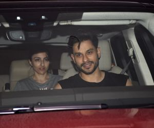 Actors Soha Ali Khan and Kunal Khemu seen at filmmaker Karan Johar's residence in Mumbai on June 17, 2019.