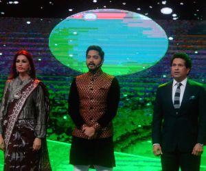 Actors Sonali Bendre and Shreyas Talpade with cricket legend Sachin Tendulkar during inauguration of T20 Mumbai League in Mumbai, on March 10, 2018.