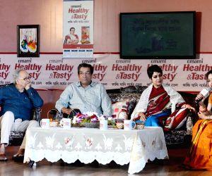 Soumitra Chatterjee, Sabyasachi Chakraborty and Churni Ganguly during a programme