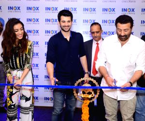 Actors Sunny Deol, Karan Deol and Sahher Bambba at the launch of a cinema hall in Jalandhar on Sep 14, 2019.