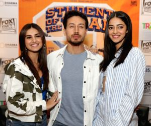 """Actors Tara Sutaria, Tiger Shroff and Ananya Pandey at a press conference during the promotions of their upcoming film """"Student of the Year 2"""" in New Delhi, on May 6, 2019."""