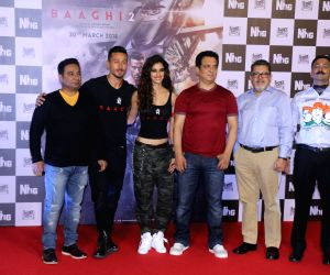 "Actors Tiger Shroff and Disha Patani, producer Sajid Nadiadwala and director Ahmed Khan at the trailer launch of their upcoming film ""Baaghi 2"" in Mumbai on Feb 21, 2018."