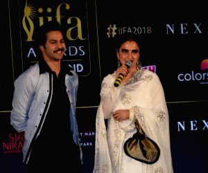 Press conference of the 19thEdition of IIFA - Varun Dhawan and Rekha