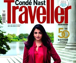 :Actress Aishwarya Rai Bachchan on the cover of the 50th issue of Conde Nast Traveller India..