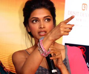 Actress Deepika Padukone addresses press conference for the promotion of her upcoming film `Ram-Leela`in New Delhi on Nov.7, 2013. (Photo:Amlan Paliwal/IANS)