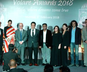 Actress Deepika Padukone, Oscar-winning composer A.R. Rahman, filmmaker Imtiaz Ali and producer Sajid Nadiadwala at the red carpet of Volare Awards 2018 in Mumbai on Feb 9, 2018.