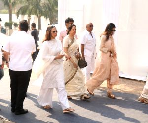 Actress Hema Malini along with her daughter arrive Esha Deol at Celebration Sports Club to pay their last respects to the late Sridevi in Mumbai on Feb 28, 2018. After the flower-bedecked ...