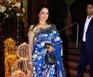 Actress Hema Malini arrives at Priyanka Chopra and Nick Jonas third wedding reception at Taj Lands' End in Mumbai. on Dec 20, 2018.