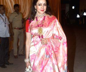 Actress Hema Malini at the wedding reception of Isha and Anand in Mumbai on Dec 14, 2018.