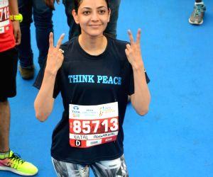 Actress Kajal Aggarwal during Mumbai Marathon on Jan 21, 2018.