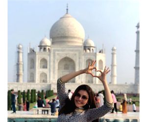 Actress Kajal Aggarwal is visiting the Taj Mahal for the first time and is mesmerised by its beauty. The actress has flooded her Instagram with photos clicked at the stunning heritage monument where she can be seen striking various poses.