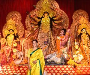 Actress Kajol at a Durga Puja pandal in Juhu, Mumbai on Oct 6, 2019.