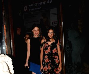 Actress Kareena Kapoor Khan with her sister Karisma Kapoor's daughter Samiera Kapoor at actress Babita Kapoor's birthday celebration in Mumbai on April 19, 2018 .