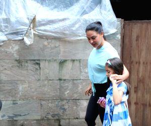 Actress Lara Dutta and her daughter Saira Bhupathi seen at a restaurant at Bandra in Mumbai on Aug 10, 2019.