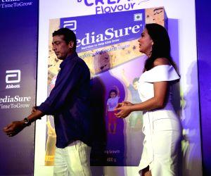 Lara Dutta, Mahesh Bhupathi during a promotional programme