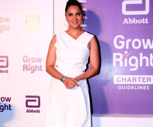 """Actress Lara Dutta at the launch of """"Grow Right"""" campaign in Mumbai, on July 30, 2019."""