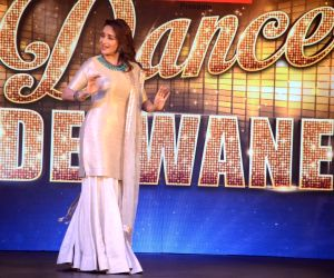 "Actress Madhuri Dixit Nene performs at the launch of season 2 of dance reality show ""Dance Deewane"" in Mumbai on May 26, 2019."
