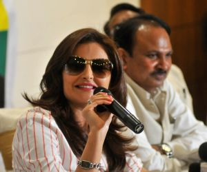 Monica Bedi during a Indian Oceanic Party press conference