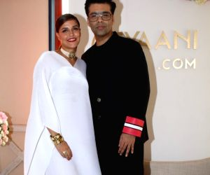 Launch of Tyaani Flagship Polki Jewellery - Neha Dhupia and Karan Johar