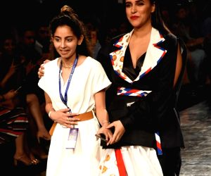 Neha Dhupia walks for Itishree Satpathy at Lakme Fashion Week 2020 - Day 2