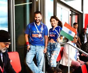 Actress Pooja Bedi's daughter Alaia F and actor Saif Ali Khan during India's match against Pakistan at the 2019 ICC World Cup, in London, on June 16, 2019.