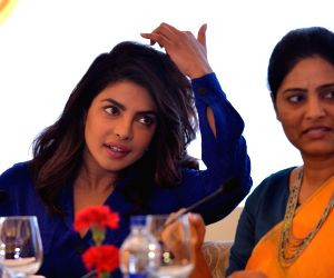 Actress Priyanka Chopra and Union MoS Health and Family Welfare Anupriya Patel during a panel discussion at Curtain Raiser for Partners' Forum 2018, in New Delhi on April 11, 2018.