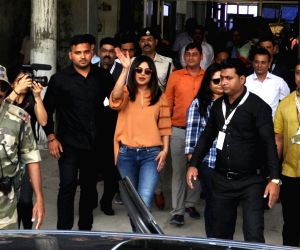 Actress Priyanka Chopra arrives in Assam's Jorhat to shoot for Assam tourism commercials, on April 28, 2018.