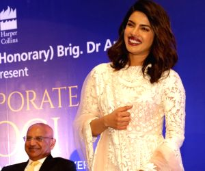 """Actress Priyanka Chopra at the launch of Dr. Arvind Lal's book """"Corporate Yogi"""" in New Delhi, on April 11, 2018."""