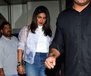 Actress Priyanka Chopra seen at Mumbai's Bandra on Aug 23, 2018.