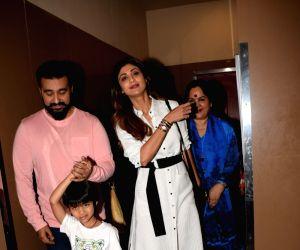 Shilpa Shetty Kundra, Raj Kundra, Viaan Raj Kundra and Sunanda Shetty seen at cinema theatre