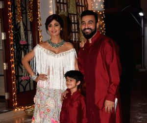 Shilpa Shetty's Diwali party - Shilpa Shetty, Raj Kundra and Viaan